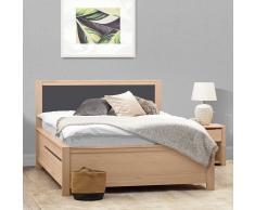 Komfortbett mit Nachtkommoden Eiche furniert und Anthrazit (3-teilig)