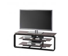 TV Rack in Braun Schwarz Beleuchtung