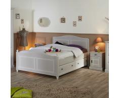Landhaus Doppelbett in Hellgrau Nachtkommoden (3-teilig)