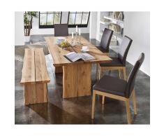 Esszimmer-Tischgruppe aus Wildeiche Massivholz Braun (6-teilig)
