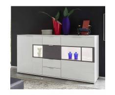 Wohnzimmer Sideboard in Weiß Grau Glas LED Beleuchtung