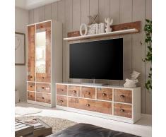 Wohnzimmer Anbauwand in Braun Vintage Optik und Weiß modern (3-teilig)