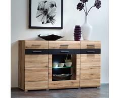 Design Sideboard in Eiche San Remo Schiefer Glas LED Beleuchtung
