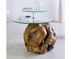 Ungewöhnlicher Couchtisch aus Teak Massivholz rund