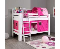 Kinderstockbett in Pink Rosa mit Vorhang