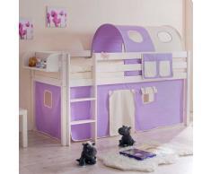 Kinderbett  mit Tunnel und Vorhang in Lila Beige halbhoch
