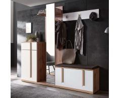 Garderobenmöbel in Weiß und Eiche Schuhschrank (4-teilig)