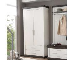 Garderobenschrank in Braun Weiß Landhausstil