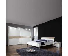 Schlafzimmerset in Weiß-Beige mit Schwebetürenschrank (4-teilig)