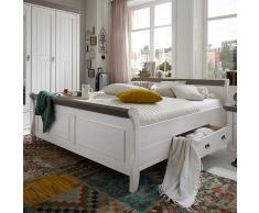 Holzbett in Weiß Grau Landhaus