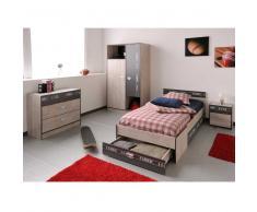 komplettes Jugendzimmer in Eschefarben Braun (4-teilig)