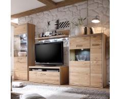 Wohnzimmer Wohnwand aus Asteiche hell LED Beleuchtung (4-teilig)