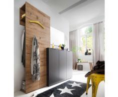 Garderobenset in Anthrazit Eiche modern (3-teilig)