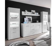 Anbauwand in Weiß Hochglanz und Beton Grau Sideboard (4-teilig)