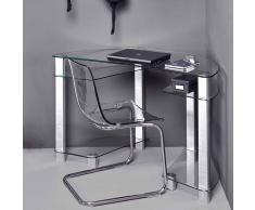 Glas Eckschreibtisch aus Aluminium 125 cm