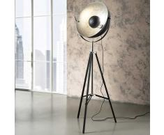 Studio Stehlampe in Schwarz Metall Silberfarben