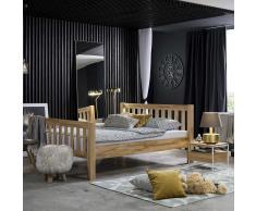 Einzelbett aus Kernbuche Massivholz mit Nachttisch (2-teilig)