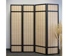 Raumteiler Paravent in Schwarz Kiefer massiv Bambus Geflecht