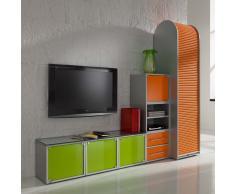Büromöbel Kombination in Orange Grün Glas modern (3-teilig)