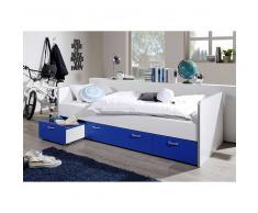 Kinderbett in Blau Weiß Schubladen