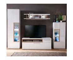 TV Anbauwand in Weiß Hochglanz Eiche LED Beleuchtung (4-teilig)