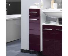 Badezimmer Unterschrank in Aubergine Hochglanz hängend