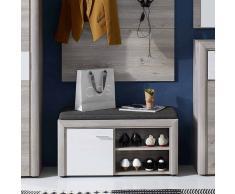 Garderobenbank mit Schuhablage Weiß Eiche Grau