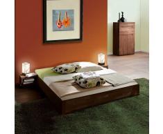 Doppelbett in Nussbaumfarben Buche Massivholz