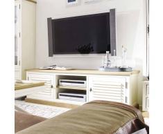 TV Lowboard im Landhaus Design Altweiß Wildeiche massiv