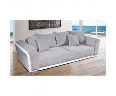 Bettcouch mit Bettkasten und Federkern Grau Weiß