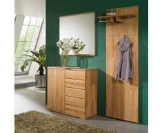 Dielenmöbel Set aus Kernbuche Massivholz mit Spiegel (3-teilig)