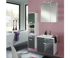 Badezimmer Kombination in Grau Hochglanz Weiß hängend (3-teilig)