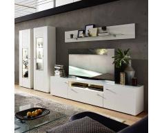 Wohnzimmer Wohnwand in Weiß geriffelt LED Beleuchtung (4-teilig)