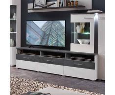 TV Board in Dunkelgrau und Weiß 200 cm breit