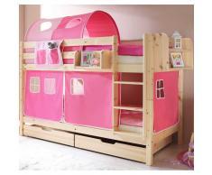 Kinderetagenbett mit rosa Vorhängen Kiefer Massivholz