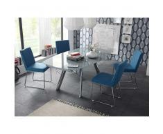 Essgruppe mit Glastisch Stühle in Blau Stoff (5-teilig)