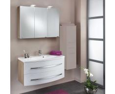 Waschtisch in Weiß Eiche mit Spiegelschrank (2-teilig)