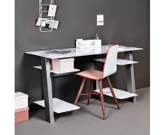 Schreibtisch mit weißer Glasplatte 140 cm