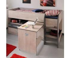 Kinder-Hochbett mit ausziehbarem Schreibtisch Esche Dekor