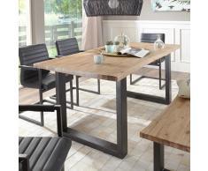 Esstisch mit Baumkante Eisengestell