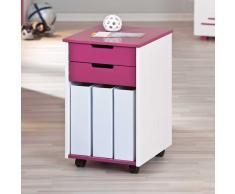 Kinder Rollcontainer in Pink-Weiß Mädchen