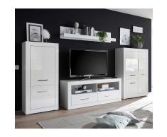 Schrankwand in Hochglanz Weiß 315 cm (4-teilig)