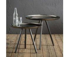 Couchtisch Set aus Stahl rund (2-teilig)