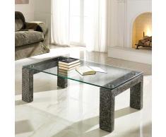 Design Couchtisch aus Stein Glasplatte