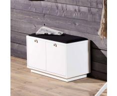 Schubladen Garderobenbank in Weiß Schwarz 70 cm breit