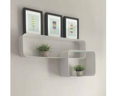 Design Wandregal in Weiß Metall
