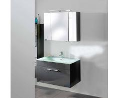 Badezimmer Kombination in Anthrazit Hochglanz modern (2-teilig)