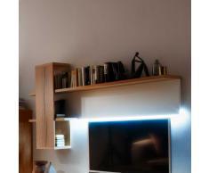 Wandboard in Weiß Eiche furniert LED Beleuchtung