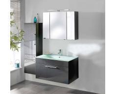 Badezimmermöbel Set in Anthrazit Hochglanz mit Waschtisch (3-teilig)