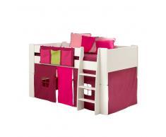 Halbhohes Hochbett in Vorhang in Pink Lila Weiß (3-teilig)